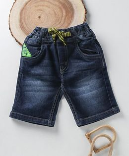 Little Kangaroos Washed Style Denim Shorts With Drawstring - Dark Blue