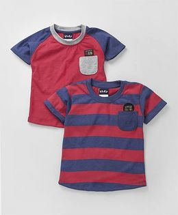 Little Kangaroos Half Sleeves T-Shirts Pack of 2 - Red Blue