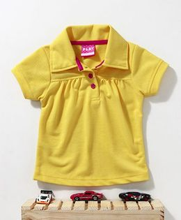 Little Kangaroos Half Sleeves Solid Colour T-Shirt  - Yellow