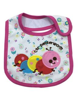 Little Hip Boutique Carpenter Worm Applique Bib - Pink