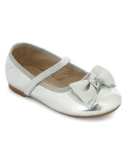 My Lil Berry Bow Top Mary Jane Ballerinas - Silver