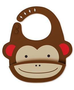 Skip Hop Zoo Fold & Go Silicon Bib Monkey Shape - Brown