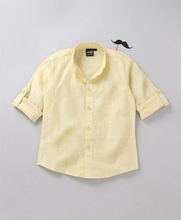 Robo Fry Full Sleeves Party Shirt With Bow - Lemon Yellow