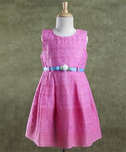 Enfance Core Stylish Dress With Belt - Pink