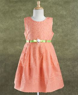 Enfance Core Stylish Dress With Belt - Peach