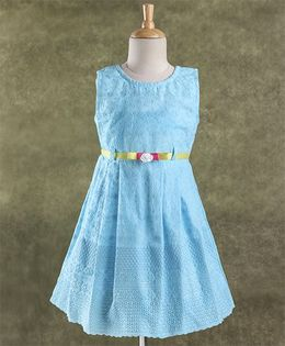 Enfance Core Stylish Dress With Belt - Blue