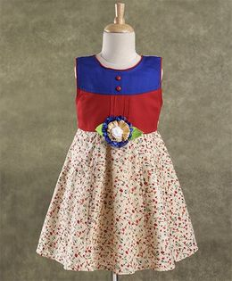 Enfance Core Stylish Dress With Broach - Red