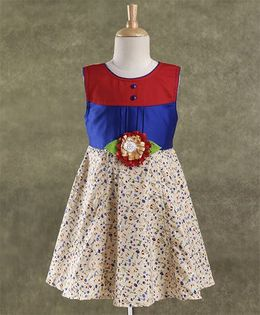 Enfance Core Stylish Dress With Broach - Blue