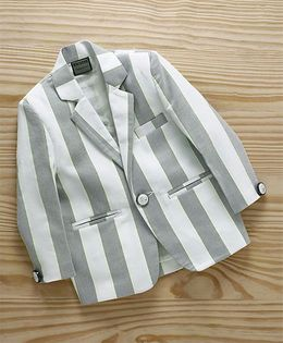 Rikidoos Striped Blazer With Full Sleeves - Grey & White