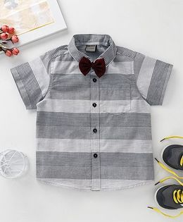 Rikidoos Half Sleeves Shirt With Bow - Grey