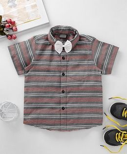 Rikidoos Striped Collared Shirt With Bow - Grey & Red