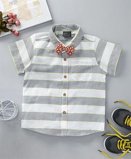 Rikidoos Broad Stripes Shirt With Polka Bow - Grey