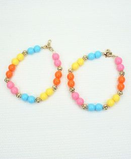 Asthetika Pair Of Beads Anklets - Multicolour