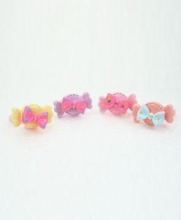 Asthetika Set Of 4 Sweet Candy Finger Rings - Multicolour