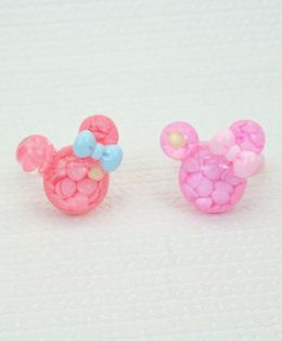 Asthetika Set Of 2 Mouse Ears Finger Rings - Pink