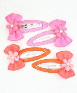 Asthetika Set Of 4 Mini Flower Hair Clips - Pink & Coral