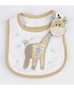 Little Palz Giraffe Embroidery Bib - Brown