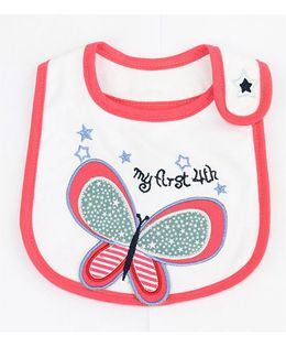Little Palz Butterfly Embroidery Bib - Red