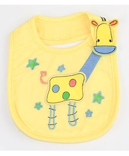 Little Palz Giraffe & Star Embroidery Bib - Yellow