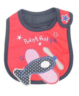 Little Palz Fish Embroidery Bib - Red