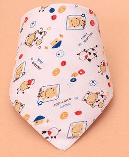 Little Palz Goat Print Triangle Bib - Peach