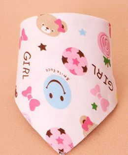 Little Palz Smile Print Triangle Bib - Pink