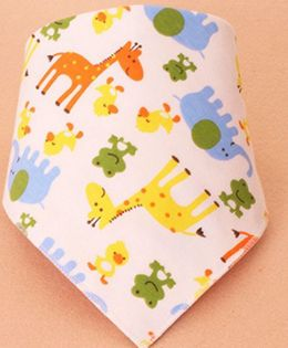 Little Palz Giraffe & Frog Print Triangle Bib - Peach