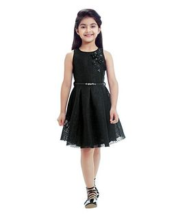 Tiny Baby Dress With Attached Belt & Flower Applique - Black
