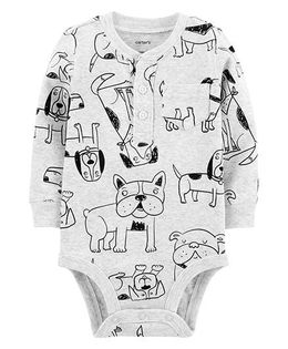 Carter's Full Sleeves Dog Print Collectible Bodysuit - Light Grey