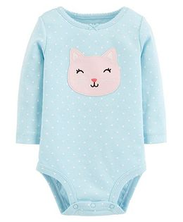 Carter's Full Sleeves Kitty Collectible Bodysuit - Blue