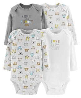 Carter's4-Pack Long-Sleeve Original Bodysuits - Grey