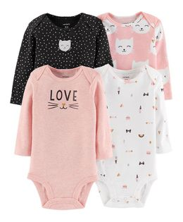 Carter's 4-Pack Long-Sleeve Original Bodysuits - Pink