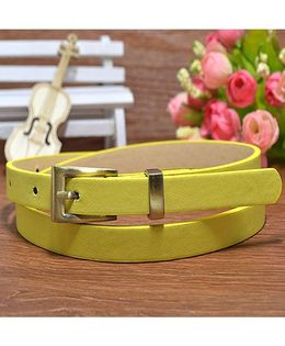 Milonee Slim Leather Belt With Square Buckle - Yellow