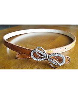Milonee Belt With Stone Studded Bow Buckle - Brown