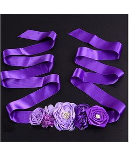 Milonee Bunch Of Big Flowers In Satin Belt - Purple