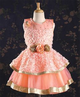 M'PRINCESS Sleeveless Floral Party Wear Dress - Peach