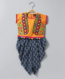Twisha Printed Dhoti With Embroidered Mock Jacket Top - Indigo