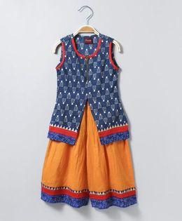 Twisha Zip Front Printed Short Kurta With Palazzo - Indigo