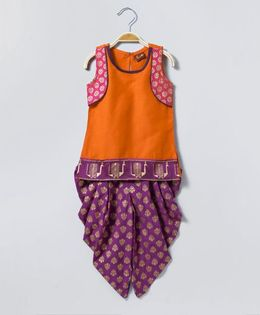 Twisha Brocade Dhoti With Sleeveless Mock Jacket Kurta - Orange