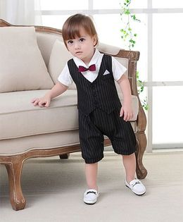 Petite Kids Maroon Bow Style Romper 2 Pieces Suit - Black