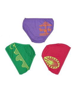 Plan B Set Of 3 Join The Joy Ride Underwear For Girls - Pink Green & Purple