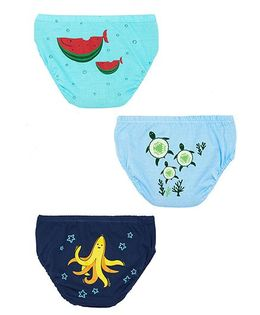 Plan B Set Of 3 Deep Blue Sea Underwear For Boys - Blue