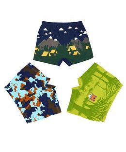 Plan B Set Of 3 Camouflage Boxer Shorts For Boys - Navy Lime & Blue