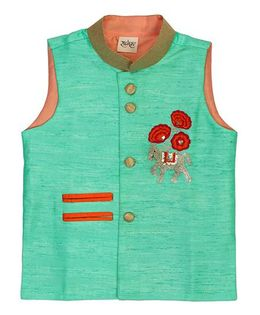 Raghav Horse Embroidered Silk Jacket - Turquoise