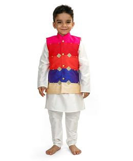 Raghav Colour Blocked Embroidered Jacket - Multicolor