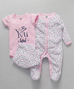 Hudson Baby  FlowerPrinted Romper and Onesie With Bib - Pink and White