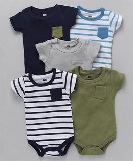 Hudson Baby Onsies Set of 5 - Navy and Multicolor