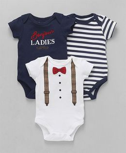 Hudson Baby  Onesies Set of 3 - Navy and White