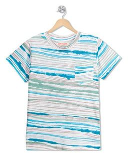 RAINE AND JAINE Stripe Printed Pocket T-Shirt - Mulicolor