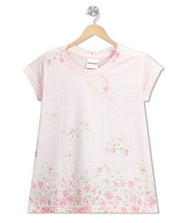 RAINE AND JAINE Floral Check Print Top - Light Pink